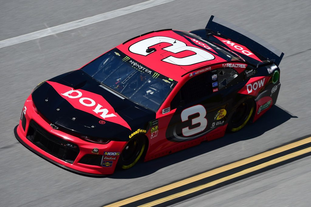 TALLADEGA, AL - APRIL 26: Austin Dillon, driver of the #3 Dow Chevrolet, practices for the Monster Energy NASCAR Cup Series GEICO 500 at Talladega Superspeedway on April 26, 2019 in Talladega, Alabama. (Photo by Jared C. Tilton/Getty Images) | Getty Images