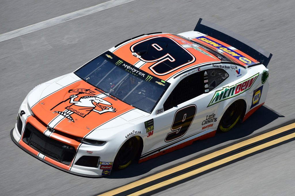TALLADEGA, AL - APRIL 26: Chase Elliott, driver of the #9 Mountain Dew/Little Caesar's Chevrolet, practices for the Monster Energy NASCAR Cup Series GEICO 500 at Talladega Superspeedway on April 26, 2019 in Talladega, Alabama. (Photo by Jared C. Tilton/Getty Images) | Getty Images