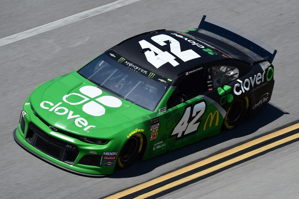 TALLADEGA, AL - APRIL 26: Kyle Larson, driver of the #42 Clover Chevrolet, practices for the Monster Energy NASCAR Cup Series GEICO 500 at Talladega Superspeedway on April 26, 2019 in Talladega, Alabama. (Photo by Jared C. Tilton/Getty Images) | Getty Images