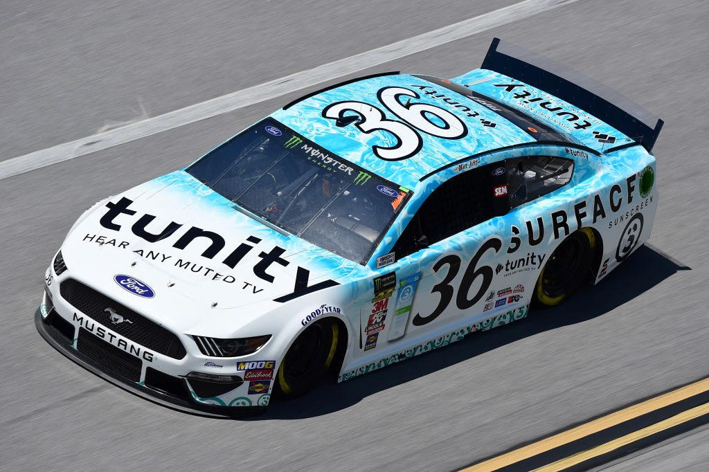 TALLADEGA, AL - APRIL 26: Matt Tifft, driver of the #36 Surface Suncreen/Tunity Ford, practices for the Monster Energy NASCAR Cup Series GEICO 500 at Talladega Superspeedway on April 26, 2019 in Talladega, Alabama. (Photo by Jared C. Tilton/Getty Images) | Getty Images