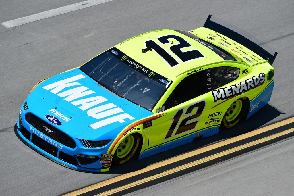 TALLADEGA, AL - APRIL 26: Ryan Blaney, driver of the #12 Menards/Knauf Ford, practices for the Monster Energy NASCAR Cup Series GEICO 500 at Talladega Superspeedway on April 26, 2019 in Talladega, Alabama. (Photo by Jared C. Tilton/Getty Images) | Getty Images