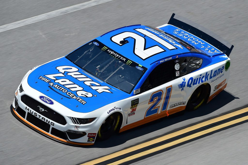 TALLADEGA, AL - APRIL 26: Paul Menard, driver of the #21 Quick Land Tire & Auto Center Ford, practices for the Monster Energy NASCAR Cup Series GEICO 500 at Talladega Superspeedway on April 26, 2019 in Talladega, Alabama. (Photo by Jared C. Tilton/Getty Images) | Getty Images