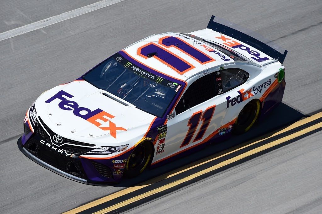 TALLADEGA, AL - APRIL 26: Denny Hamlin, driver of the #11 FedEx Express Toyota, practices for the Monster Energy NASCAR Cup Series GEICO 500 at Talladega Superspeedway on April 26, 2019 in Talladega, Alabama. (Photo by Jared C. Tilton/Getty Images) | Getty Images