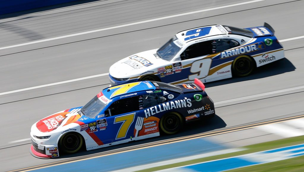 TALLADEGA, AL - APRIL 27: Justin Allgaier, driver of the #7 Hellmann's/Fight Hunger Spark Change Chevrolet, races, Noah Gragson, driver of the #9 ARMOUR Vienna Sausage Chevrolet, during the NASCAR Xfinity Series MoneyLion 300 at Talladega Superspeedway on April 27, 2019 in Talladega, Alabama. (Photo by Brian Lawdermilk/Getty Images) | Getty Images