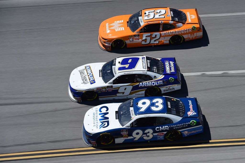 TALLADEGA, AL - APRIL 27: Josh Bilicki, driver of the #93 CMR Construction & Roofing Chevrolet, Noah Gragson, driver of the #9 ARMOUR Vienna Sausage Chevrolet, and David Starr, driver of the #52 Whataburger Chevrolet, race during the NASCAR Xfinity Series MoneyLion 300 at Talladega Superspeedway on April 27, 2019 in Talladega, Alabama. (Photo by Jared C. Tilton/Getty Images) | Getty Images