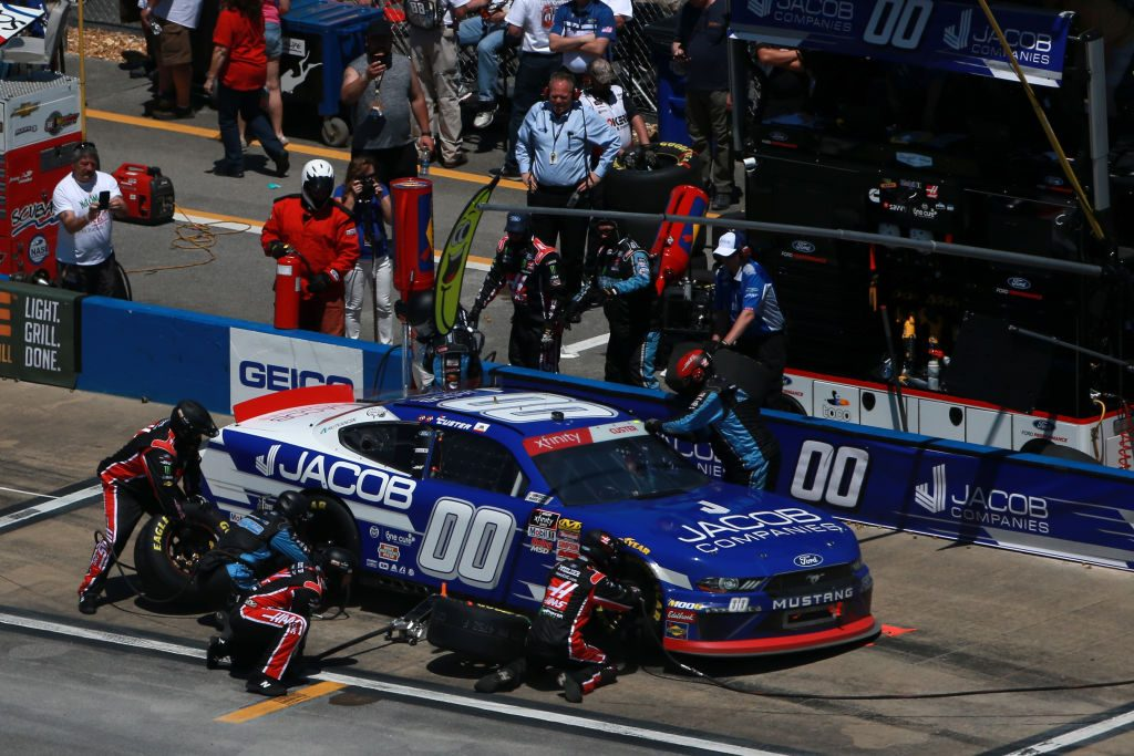 TALLADEGA, AL - APRIL 27: Cole Custer, driver of the #00 JACOB Companies Ford, pits during the NASCAR Xfinity Series MoneyLion 300 at Talladega Superspeedway on April 27, 2019 in Talladega, Alabama. (Photo by Sean Gardner/Getty Images)   Getty Images