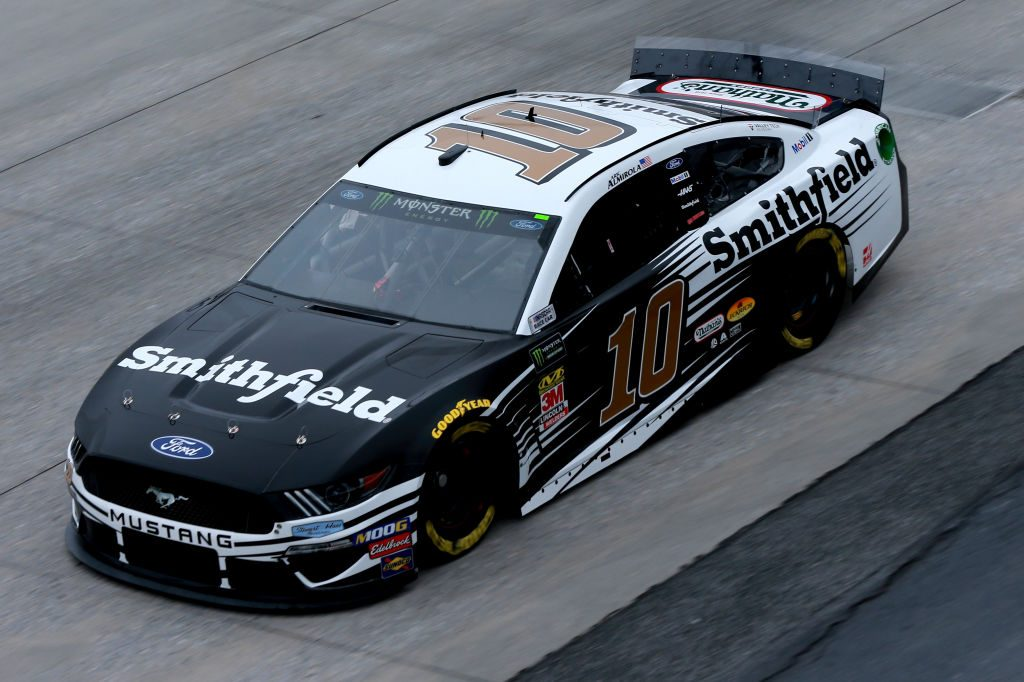 DOVER, DE - MAY 03: Aric Almirola, driver of the #10 Smithfield Ford, practices for the Monster Energy NASCAR Cup Series Gander RV 400 at Dover International Speedway on May 3, 2019 in Dover, Delaware. (Photo by Sean Gardner/Getty Images) | Getty Images
