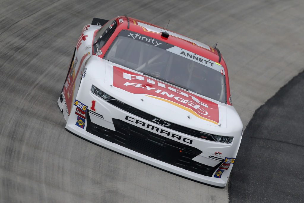 DOVER, DE - MAY 03: Michael Annet, driver of the #1 Pilot/Flying J Chevrolet, drives during practice for the NASCAR Xfinity Series Allied Steel Buildings 200 at Dover International Speedway on May 3, 2019 in Dover, Delaware. (Photo by Matt Sullivan/Getty Images)   Getty Images