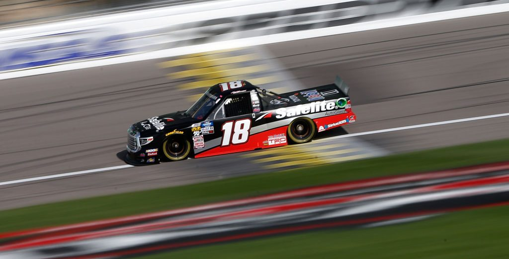 KANSAS CITY, KS - MAY 10: Harrison Burton, driver of the #18 Safelite AutoGlass Toyota, practices for the NASCAR Gander Outdoors Truck Series Digital Ally 250 at Kansas Speedway on May 10, 2019 in Kansas City, Kansas. (Photo by Brian Lawdermilk/Getty Images) | Getty Images