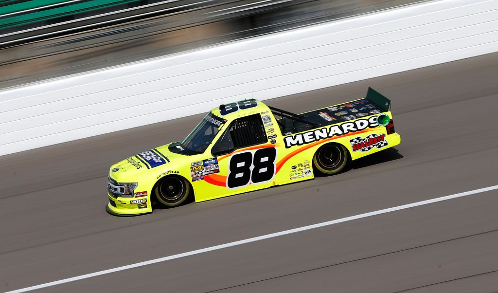 KANSAS CITY, KS - MAY 10: Matt Crafton, driver of the #88 Ideal Door/Menards Ford, practices for the NASCAR Gander Outdoors Truck Series Digital Ally 250 at Kansas Speedway on May 10, 2019 in Kansas City, Kansas. (Photo by Brian Lawdermilk/Getty Images) | Getty Images