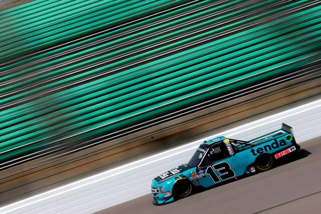 KANSAS CITY, KS - MAY 10: Johnny Sauter, driver of the #13 Tenda Ford, drives during practice for the NASCAR Gander Outdoors Truck Series Digital Ally 250 at Kansas Speedway on May 10, 2019 in Kansas City, Kansas. (Photo by Jonathan Ferrey/Getty Images) | Getty Images