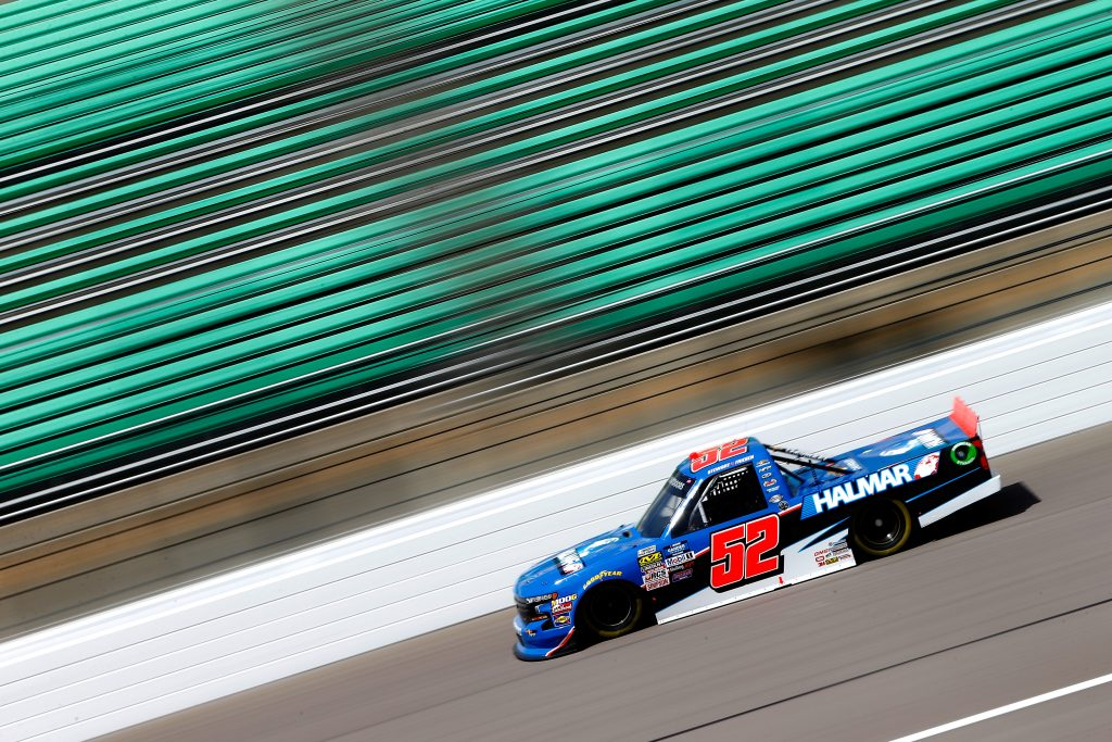 KANSAS CITY, KS - MAY 10: Stewart Friesen, driver of the #52 Halmar International Chevrolet, drives during practice for the NASCAR Gander Outdoors Truck Series Digital Ally 250 at Kansas Speedway on May 10, 2019 in Kansas City, Kansas. (Photo by Jonathan Ferrey/Getty Images) | Getty Images