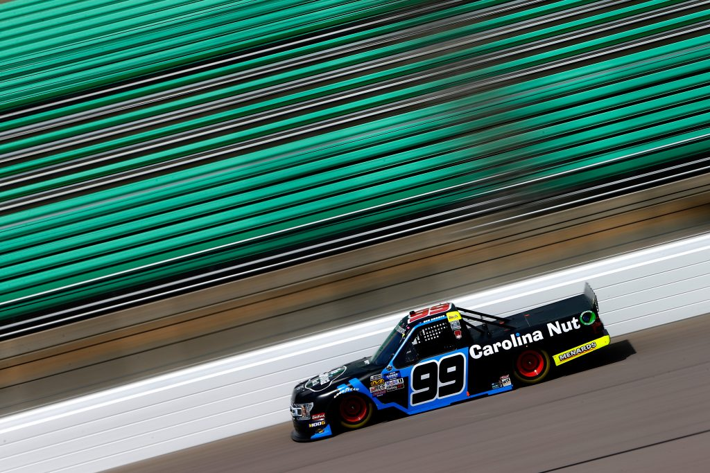 KANSAS CITY, KS - MAY 10: Ben Rhodes, driver of the #99 Carolina Nut Ford, drives during practice for the NASCAR Gander Outdoors Truck Series Digital Ally 250 at Kansas Speedway on May 10, 2019 in Kansas City, Kansas. (Photo by Jonathan Ferrey/Getty Images) | Getty Images