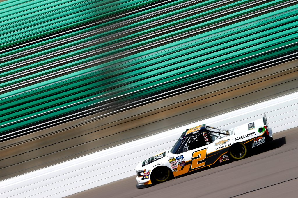 KANSAS CITY, KS - MAY 10: Sheldon Creed, driver of the #2 Chevrolet Accessories Chevrolet, drives during practice for the NASCAR Gander Outdoors Truck Series Digital Ally 250 at Kansas Speedway on May 10, 2019 in Kansas City, Kansas. (Photo by Jonathan Ferrey/Getty Images) | Getty Images