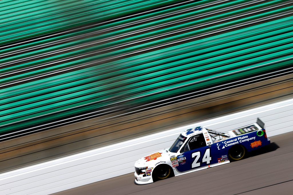 KANSAS CITY, KS - MAY 10: Brett Moffitt, driver of the #24 Concrete Supply/Central Plains Cement Co. Chev., drives during practice for the NASCAR Gander Outdoors Truck Series Digital Ally 250 at Kansas Speedway on May 10, 2019 in Kansas City, Kansas. (Photo by Jonathan Ferrey/Getty Images) | Getty Images