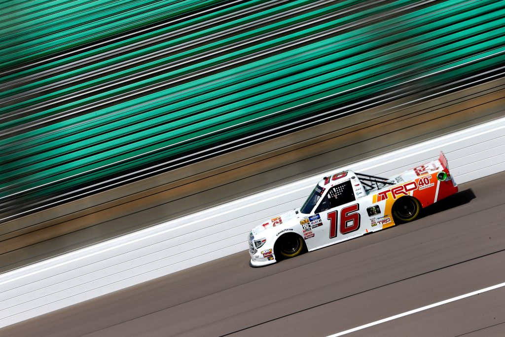 KANSAS CITY, KS - MAY 10: Austin Hill, driver of the #16 Toyota Racing Development Toyota, drives during practice for the NASCAR Gander Outdoors Truck Series Digital Ally 250 at Kansas Speedway on May 10, 2019 in Kansas City, Kansas. (Photo by Jonathan Ferrey/Getty Images) | Getty Images