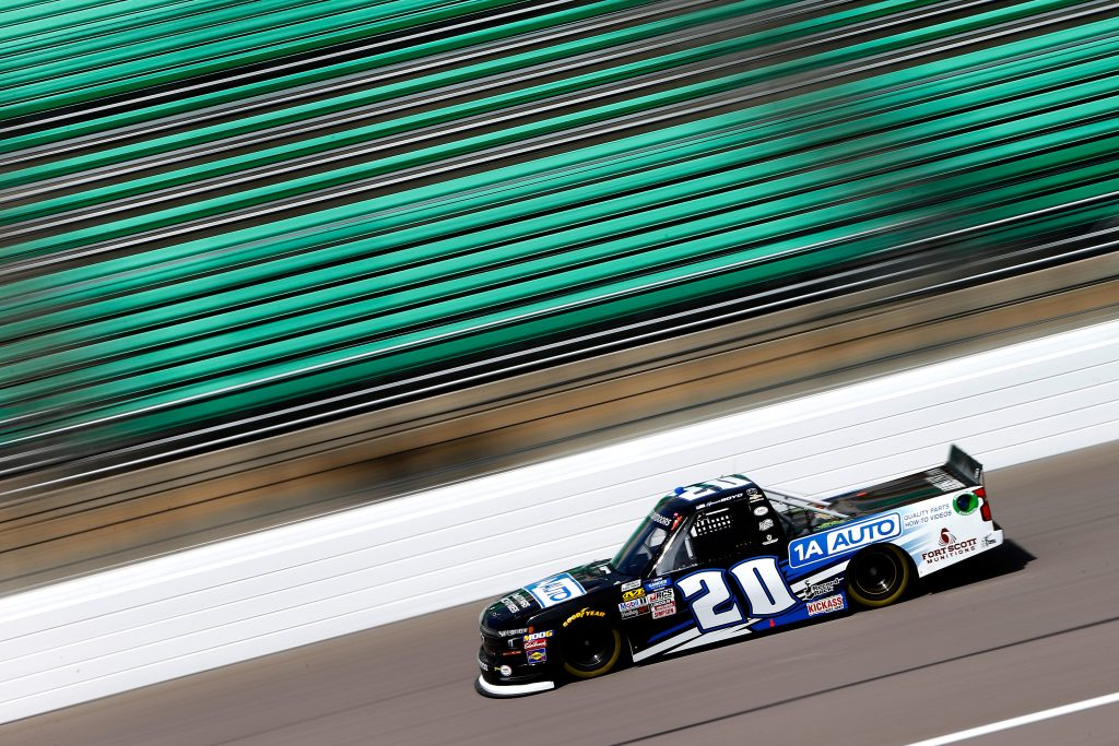 KANSAS CITY, KS - MAY 10: Spencer Boyd, driver of the #20 Chevrolet, drives during practice for the NASCAR Gander Outdoors Truck Series Digital Ally 250 at Kansas Speedway on May 10, 2019 in Kansas City, Kansas. (Photo by Jonathan Ferrey/Getty Images) | Getty Images