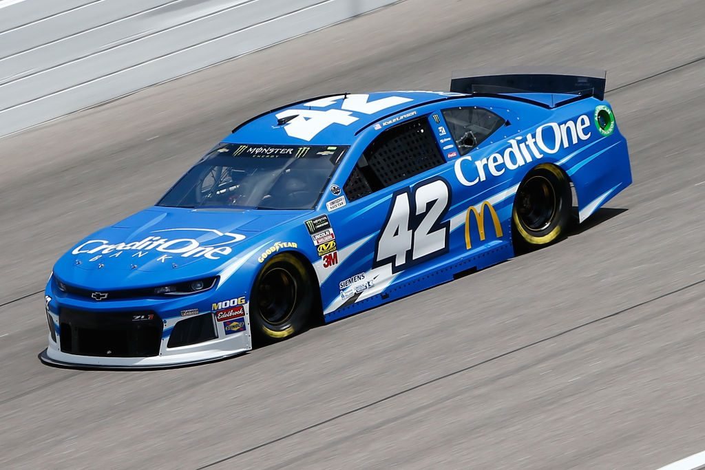 KANSAS CITY, KS - MAY 10: Kyle Larson, driver of the #42 Credit One Bank Chevrolet, during practice for the Monster Energy NASCAR Cup Series Digital Ally 400 at Kansas Speedway on May 10, 2019 in Kansas City, Kansas. (Photo by Jonathan Ferrey/Getty Images) | Getty Images