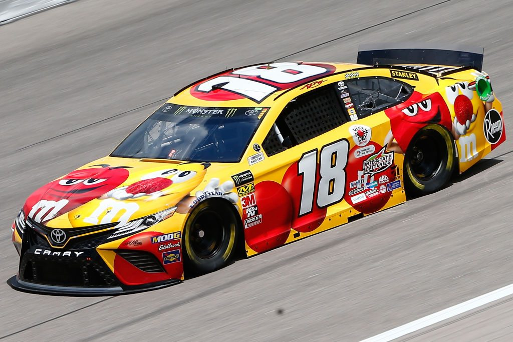 KANSAS CITY, KS - MAY 10: Kyle Busch, driver of the #18 M&M's Red Nose Day Toyota, drives during practice for the Monster Energy NASCAR Cup Series Digital Ally 400 at Kansas Speedway on May 10, 2019 in Kansas City, Kansas. (Photo by Jonathan Ferrey/Getty Images) | Getty Images