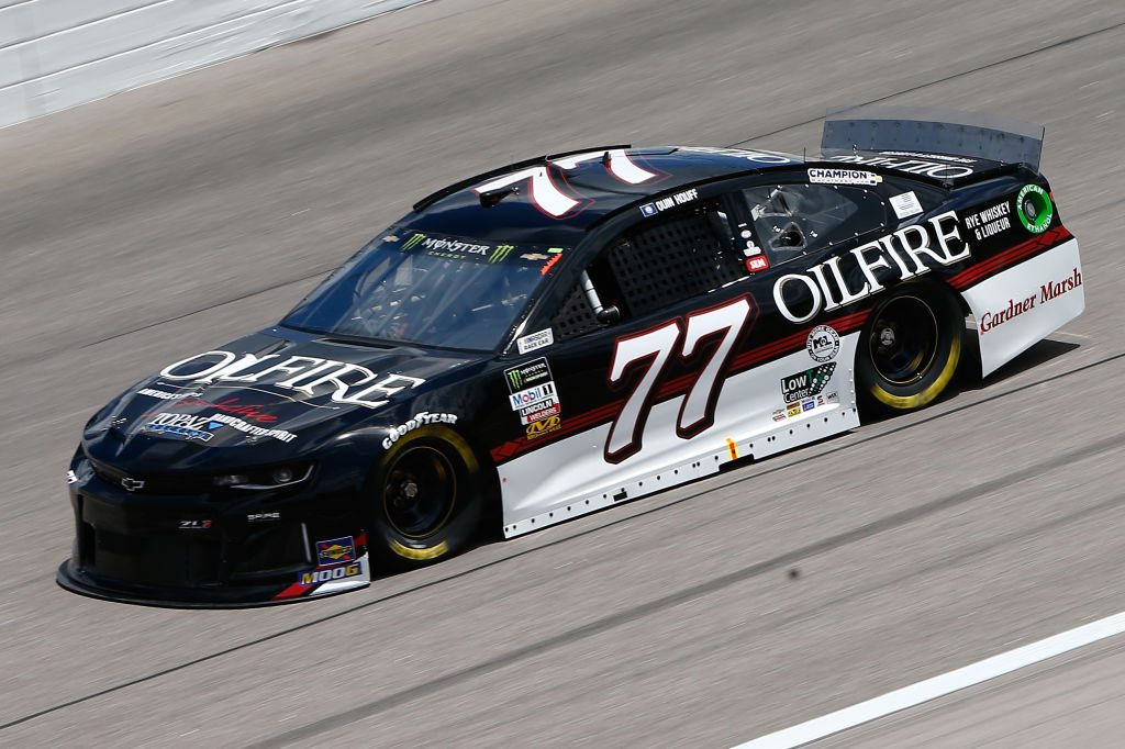 Quin Houff, driver of the #77 OilFire Rye Whiskey Chevrolet, drives KANSAS CITY, KS - MAY 10: during practice for the Monster Energy NASCAR Cup Series Digital Ally 400 at Kansas Speedway on May 10, 2019 in Kansas City, Kansas. (Photo by Jonathan Ferrey/Getty Images) | Getty Images
