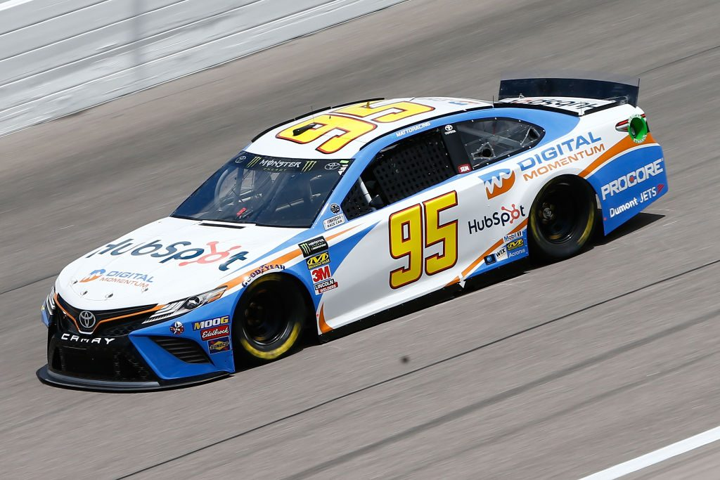 Matt DiBenedetto, driver of the #95 Digital Momentum/Hubspot Toyota, DRIVES KANSAS CITY, KS - MAY 10: during practice for the Monster Energy NASCAR Cup Series Digital Ally 400 at Kansas Speedway on May 10, 2019 in Kansas City, Kansas. (Photo by Jonathan Ferrey/Getty Images) | Getty Images