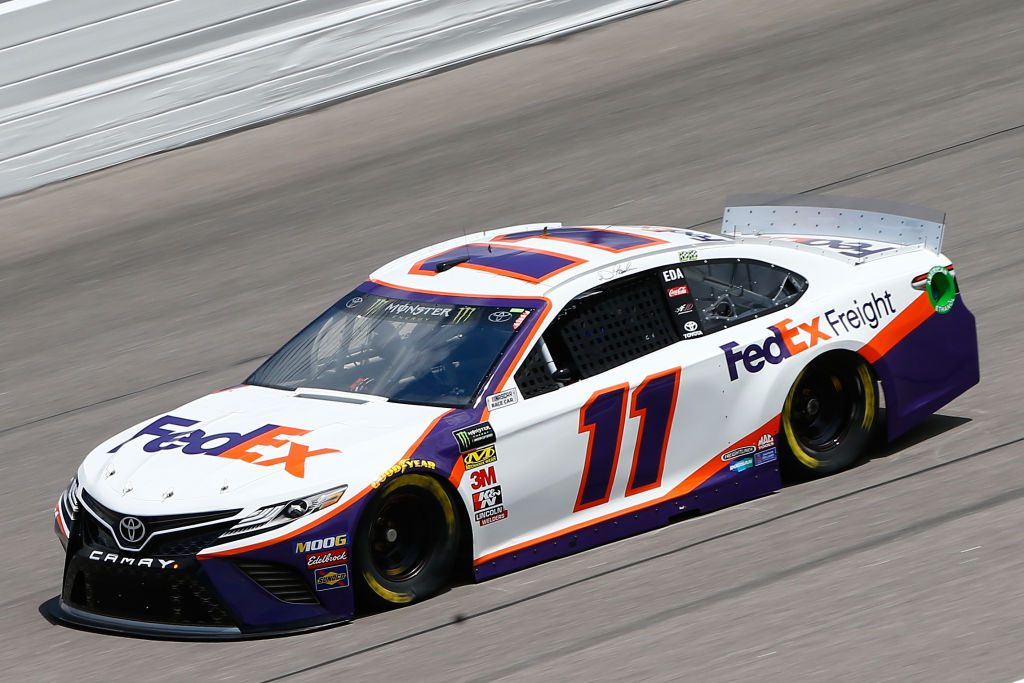 KANSAS CITY, KS - MAY 10: Denny Hamlin, driver of the #11 FedEx Freight Toyota, drives during practice for the Monster Energy NASCAR Cup Series Digital Ally 400 at Kansas Speedway on May 10, 2019 in Kansas City, Kansas. (Photo by Jonathan Ferrey/Getty Images) | Getty Images