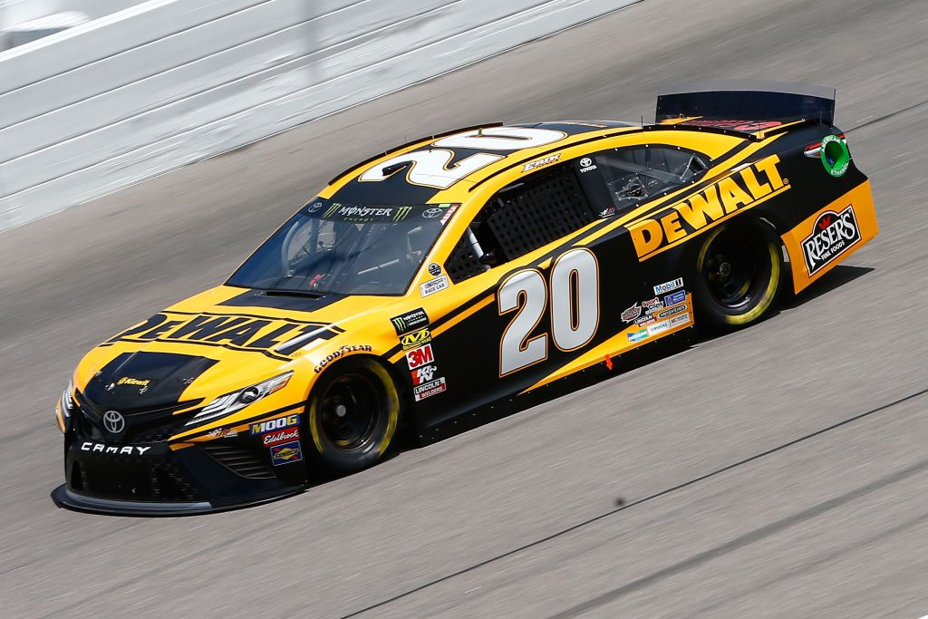 KANSAS CITY, KS - MAY 10: Erik Jones, driver of the #20 DeWalt Toyota, drives during practice for the Monster Energy NASCAR Cup Series Digital Ally 400 at Kansas Speedway on May 10, 2019 in Kansas City, Kansas. (Photo by Jonathan Ferrey/Getty Images) | Getty Images