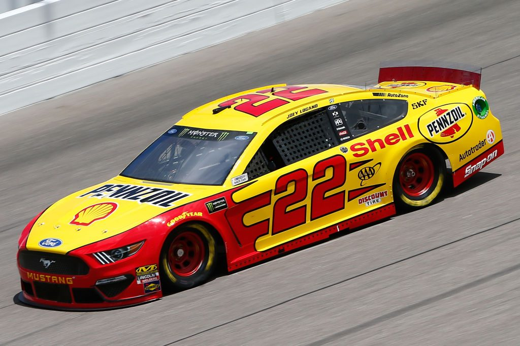 KANSAS CITY, KS - MAY 10: Joey Logano, driver of the #22 Shell Pennzoil Ford, drives during practice for the Monster Energy NASCAR Cup Series Digital Ally 400 at Kansas Speedway on May 10, 2019 in Kansas City, Kansas. (Photo by Jonathan Ferrey/Getty Images) | Getty Images
