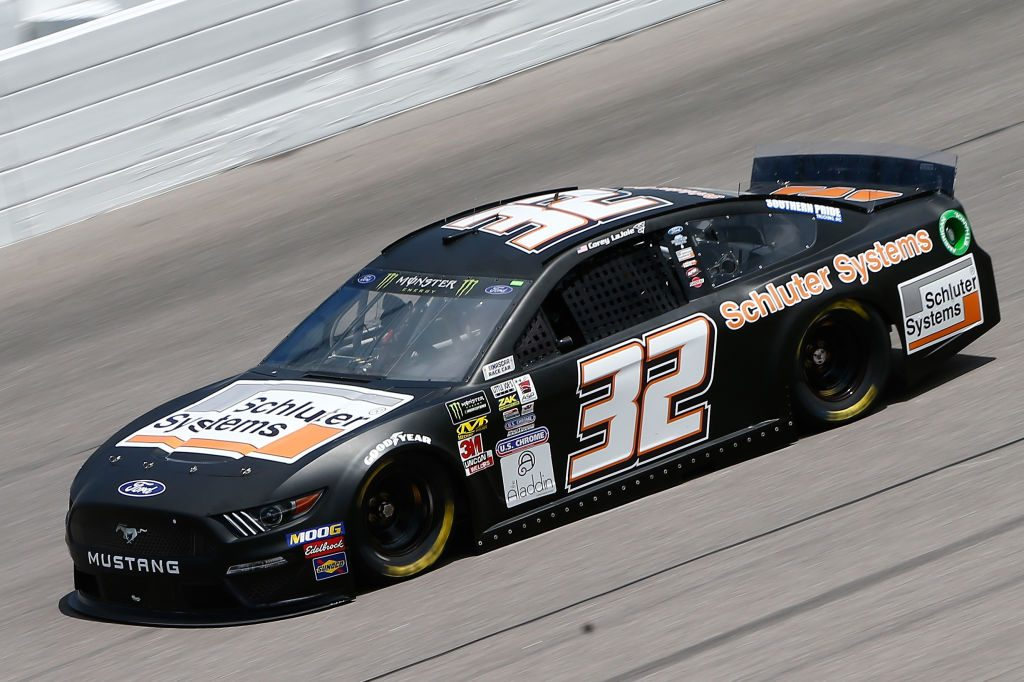 KANSAS CITY, KS - MAY 10: Corey LaJoie, driver of the #32 Schluter Systems Ford, drives during practice for the Monster Energy NASCAR Cup Series Digital Ally 400 at Kansas Speedway on May 10, 2019 in Kansas City, Kansas. (Photo by Jonathan Ferrey/Getty Images) | Getty Images