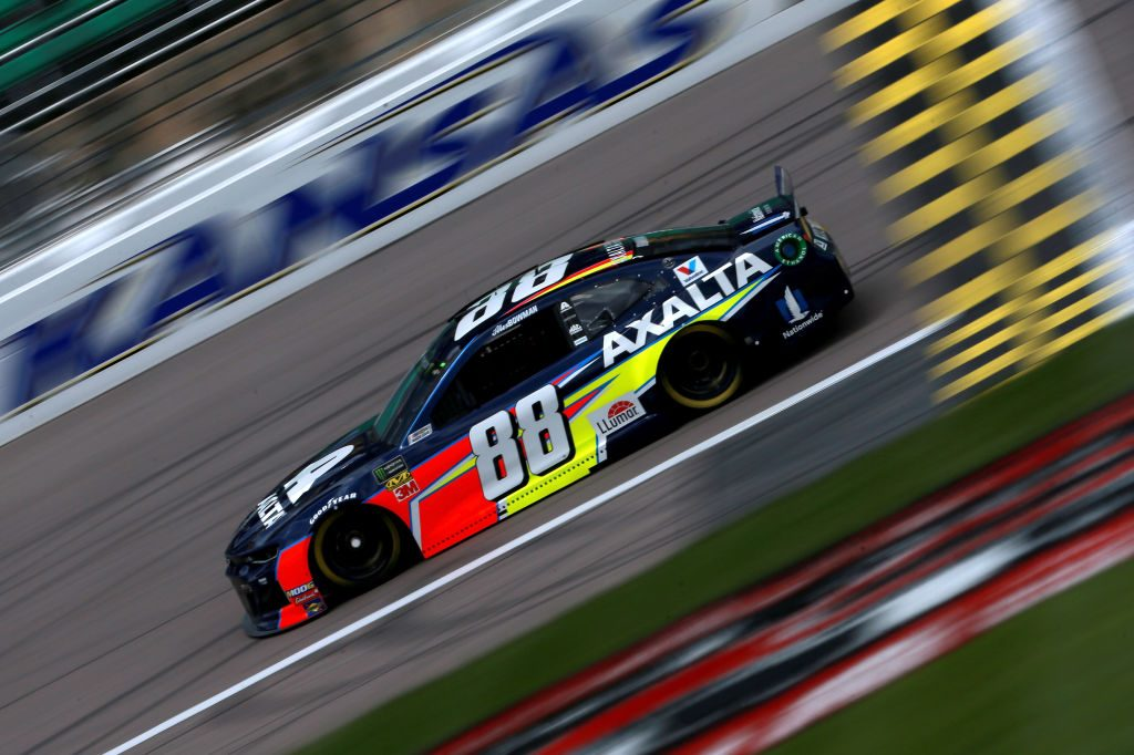 KANSAS CITY, KS - MAY 10: Alex Bowman, driver of the #88 Axalta Chevrolet, practices for the Monster Energy NASCAR Cup Series Digital Ally 400 at Kansas Speedway on May 10, 2019 in Kansas City, Kansas. (Photo by Sean Gardner/Getty Images) | Getty Images