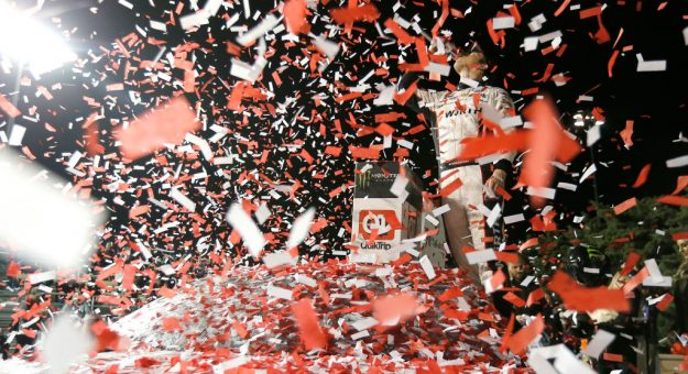 KANSAS CITY, KS - MAY 11:  Brad Keselowski, driver of the #2 Wurth Ford, celebrates in victory lane after winning the Monster Energy NASCAR Cup Series Digital Ally 400 at Kansas Speedway on May 11, 2019 in Kansas City, Kansas.  (Photo by Jonathan Ferrey/Getty Images) | Getty Images