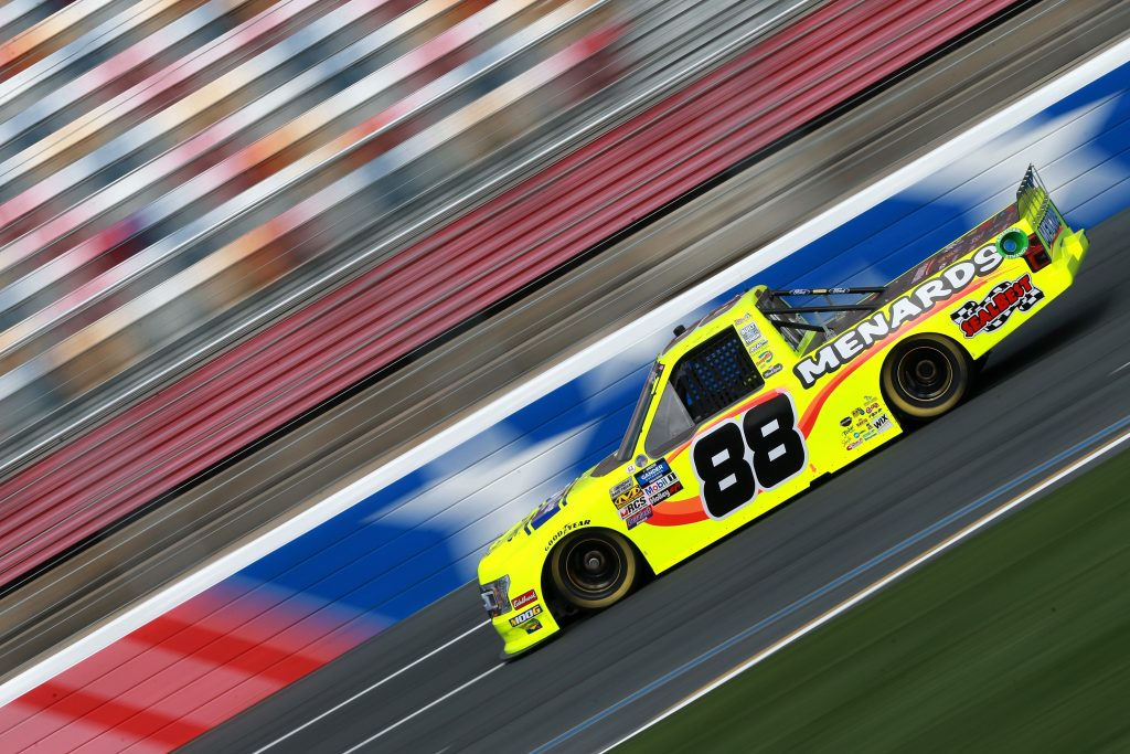 CHARLOTTE, NC - MAY 17: Matt Crafton, driver of the #88 Ideal Door/Menards Ford, practices for the NASCAR Gander Outdoors Truck Series North Carolina Education Lottery 200 at Charlotte Motor Speedway on May 17, 2019 in Charlotte, North Carolina. (Photo by Sean Gardner/Getty Images) | Getty Images