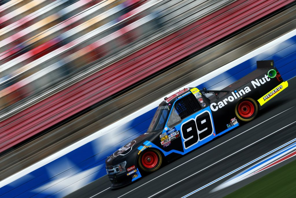 CHARLOTTE, NC - MAY 17: Ben Rhodes, driver of the #99 Carolina Nut Ford, practices for the NASCAR Gander Outdoors Truck Series North Carolina Education Lottery 200 at Charlotte Motor Speedway on May 17, 2019 in Charlotte, North Carolina. (Photo by Sean Gardner/Getty Images) | Getty Images