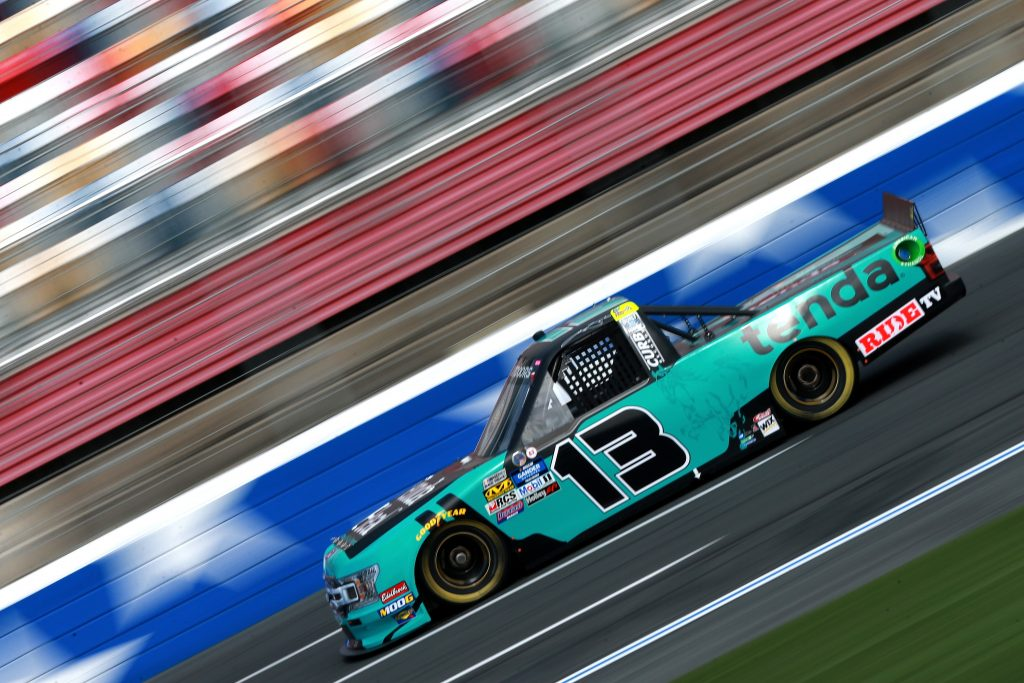 CHARLOTTE, NC - MAY 17: Johnny Sauter, driver of the #13 Tenda Heal Ford, practices for the NASCAR Gander Outdoors Truck Series North Carolina Education Lottery 200 at Charlotte Motor Speedway on May 17, 2019 in Charlotte, North Carolina. (Photo by Sean Gardner/Getty Images) | Getty Images