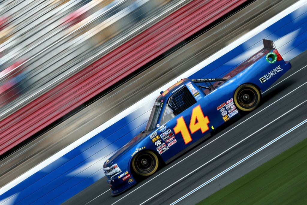CHARLOTTE, NC - MAY 17: Trey Hutchens III, driver of the #14 Heintz Performance Chevrolet, practices for the NASCAR Gander Outdoors Truck Series North Carolina Education Lottery 200 at Charlotte Motor Speedway on May 17, 2019 in Charlotte, North Carolina. (Photo by Sean Gardner/Getty Images) | Getty Images