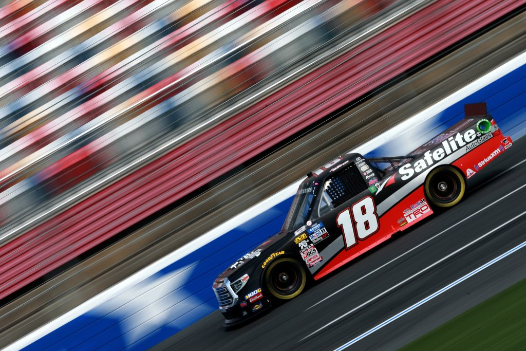CHARLOTTE, NC - MAY 17: Harrison Burton, driver of the #18 Safelite AutoGlass Toyota, practices for the NASCAR Gander Outdoors Truck Series North Carolina Education Lottery 200 at Charlotte Motor Speedway on May 17, 2019 in Charlotte, North Carolina. (Photo by Sean Gardner/Getty Images) | Getty Images
