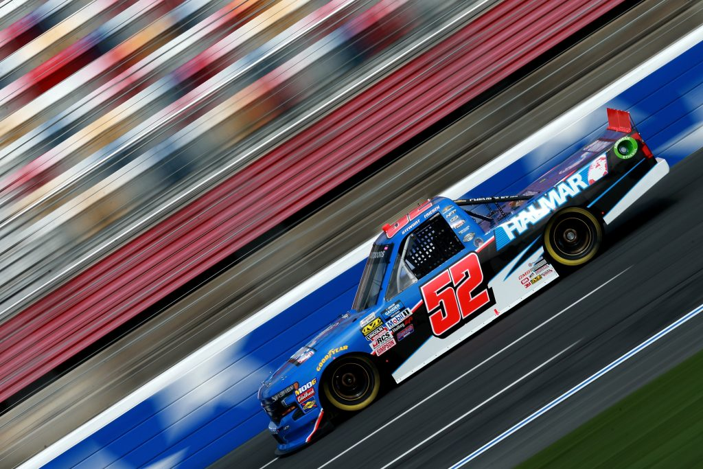 CHARLOTTE, NC - MAY 17: Stewart Friesen, driver of the #52 Halmar International Chevrolet, practices for the NASCAR Gander Outdoors Truck Series North Carolina Education Lottery 200 at Charlotte Motor Speedway on May 17, 2019 in Charlotte, North Carolina. (Photo by Sean Gardner/Getty Images) | Getty Images