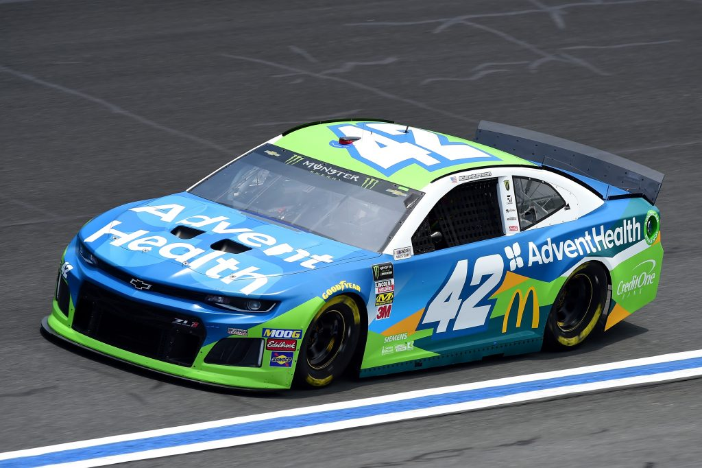 CHARLOTTE, NC - MAY 17: Kyle Larson, driver of the #42 Advent Health Chevrolet, practices for the Monster Energy NASCAR Cup Series All-Star Race and the Monster Energy NASCAR Cup Series Open Race at Charlotte Motor Speedway on May 17, 2019 in Charlotte, North Carolina. (Photo by Jared C. Tilton/Getty Images) | Getty Images