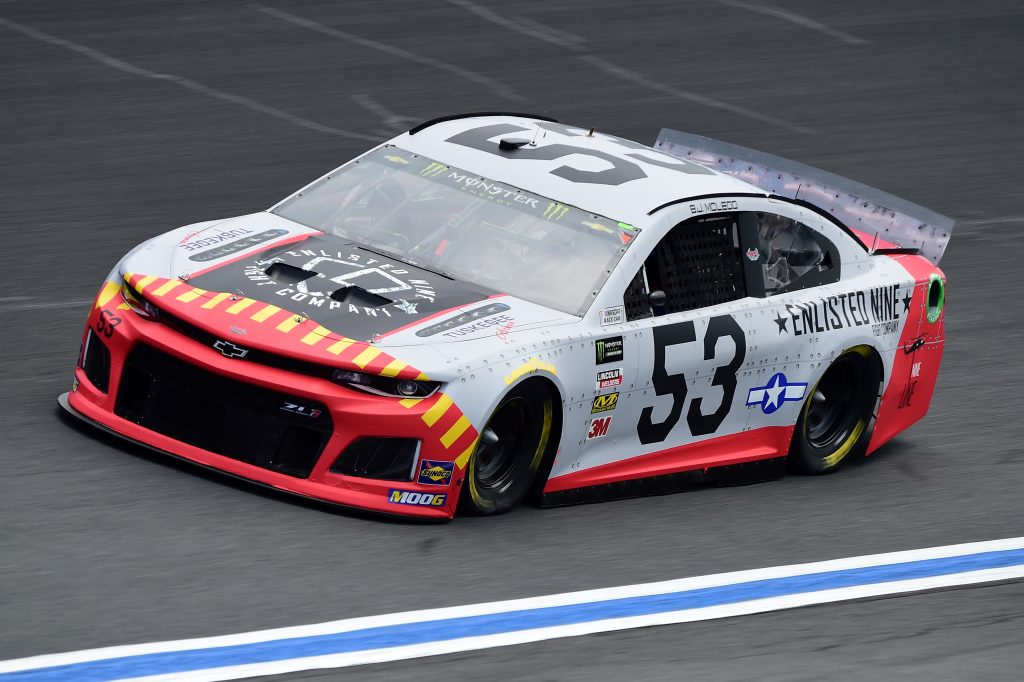 CHARLOTTE, NC - MAY 17: BJ McLeod, driver of the #53 Enlisted Nine Fight Company Chevrolet, practices for the Monster Energy NASCAR Cup Series All-Star Race and the Monster Energy NASCAR Cup Series Open Race at Charlotte Motor Speedway on May 17, 2019 in Charlotte, North Carolina. (Photo by Jared C. Tilton/Getty Images) | Getty Images