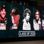 CHARLOTTE, NC - MAY 22: 2019  The class of Tony Stewart, Joe Gibbs, Waddell Wilson, Buddy Baker and Bobby Labonte are seen on a sign during the NASCAR 2020 Hall of Fame announcement ceremony at the NASCAR Hall of Fame on May 22, 2019 in Charlotte, North Carolina. (Photo by Jason Miczek/Getty Images) | Getty Images