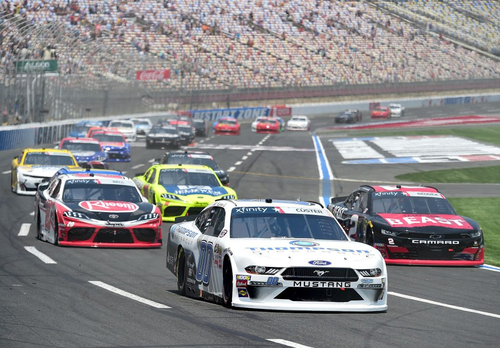 CHARLOTTE, NORTH CAROLINA - MAY 25: Cole Custer, driver of the #00 Thompson Pipe Group Ford, leads Tyler Reddick, driver of the #2 TAME the BEAST Chevrolet, during the NASCAR Xfinity Series Alsco 300 at Charlotte Motor Speedway on May 25, 2019 in Charlotte, North Carolina. (Photo by Jared C. Tilton/Getty Images)   Getty Images