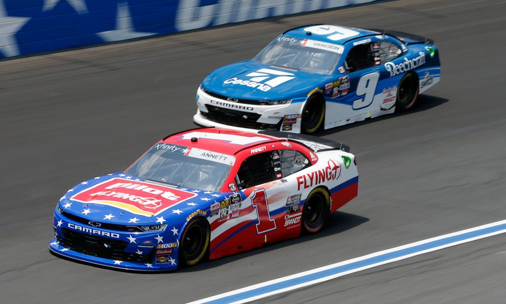 CHARLOTTE, NORTH CAROLINA - MAY 25: Michael Annett, driver of the #1 Pilot/Flying J Chevrolet, leads, Noah Gragson, driver of the #9 Cessna Chevrolet, during the NASCAR Xfinity Series Alsco 300 at Charlotte Motor Speedway on May 25, 2019 in Charlotte, North Carolina. (Photo by Brian Lawdermilk/Getty Images)   Getty Images