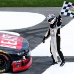 CHARLOTTE, NORTH CAROLINA - MAY 25: Tyler Reddick, driver of the #2 TAME the BEAST Chevrolet, celebrates after winning the NASCAR Xfinity Series Alsco 300 at Charlotte Motor Speedway on May 25, 2019 in Charlotte, North Carolina. (Photo by Brian Lawdermilk/Getty Images) | Getty Images