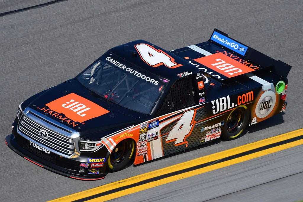 DAYTONA BEACH, FL - FEBRUARY 14: Todd Gilliland, driver of the #4 JBL Toyota, practices for the NASCAR Gander Outdoor Truck Series NextEra Energy 250 at Daytona International Speedway on February 14, 2019 in Daytona Beach, Florida. (Photo by Jared C. Tilton/Getty Images) | Getty Images