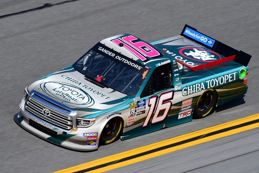 DAYTONA BEACH, FL - FEBRUARY 14:  Austin Hill, driver of the #16 CHIBA Toyopet Toyota, practices for the NASCAR Gander Outdoor Truck Series NextEra Energy 250 at Daytona International Speedway on February 14, 2019 in Daytona Beach, Florida.  (Photo by Jared C. Tilton/Getty Images) | Getty Images