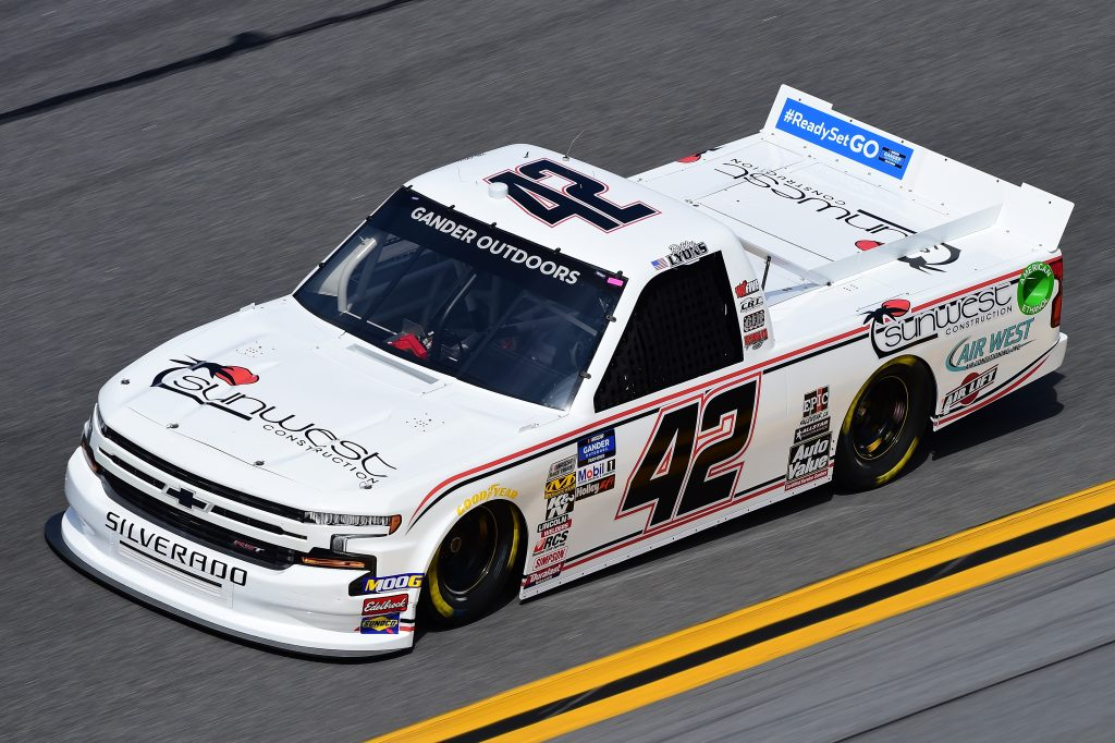 DAYTONA BEACH, FL - FEBRUARY 14:  Robby Lyons II, driver of the #42 Sunwest Construction/Auto Value Chevrolet, practices for the NASCAR Gander Outdoor Truck Series NextEra Energy 250 at Daytona International Speedway on February 14, 2019 in Daytona Beach, Florida.  (Photo by Jared C. Tilton/Getty Images) | Getty Images