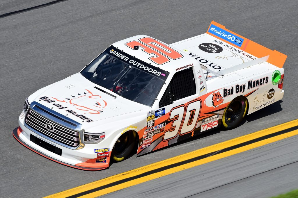 DAYTONA BEACH, FL - FEBRUARY 14:  Brennan Poole, driver of the #30 Bad Boy Mowers Toyota, practices for the NASCAR Gander Outdoor Truck Series NextEra Energy 250 at Daytona International Speedway on February 14, 2019 in Daytona Beach, Florida.  (Photo by Jared C. Tilton/Getty Images) | Getty Images