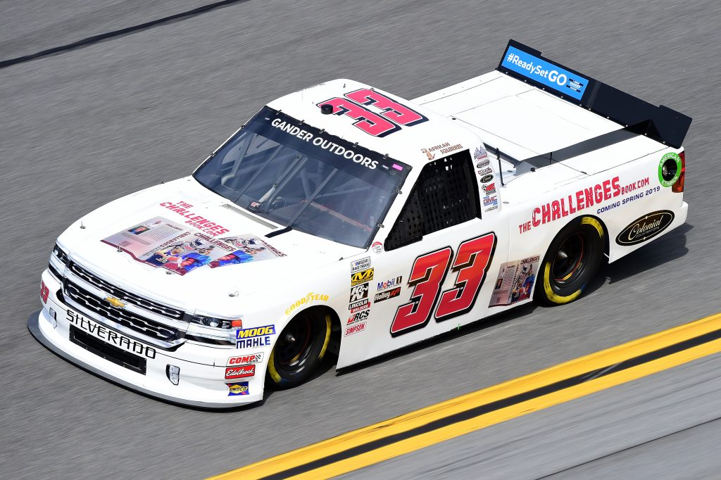 DAYTONA BEACH, FL - FEBRUARY 14: Josh Reaume, driver of the #33 TheChallengesBook.com Chevrolet, practices for the NASCAR Gander Outdoor Truck Series NextEra Energy 250 at Daytona International Speedway on February 14, 2019 in Daytona Beach, Florida. (Photo by Jared C. Tilton/Getty Images) | Getty Images