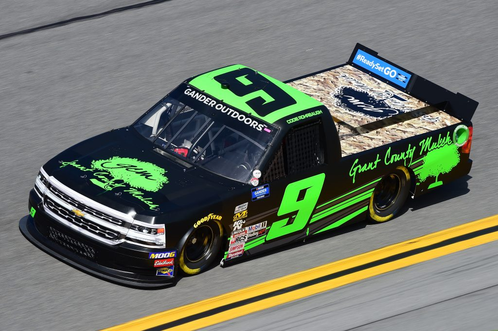 DAYTONA BEACH, FL - FEBRUARY 14:  Codie Rohrbaugh, driver of the #9 Grant County Mulch Chevrolet, practices for the NASCAR Gander Outdoor Truck Series NextEra Energy 250 at Daytona International Speedway on February 14, 2019 in Daytona Beach, Florida.  (Photo by Jared C. Tilton/Getty Images) | Getty Images