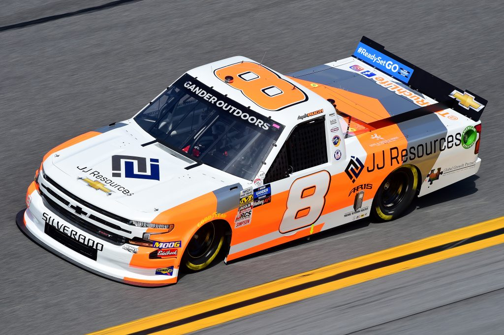 DAYTONA BEACH, FL - FEBRUARY 14: Angela Ruch, driver of the #8 JJ Resources Chevrolet, practices for the NASCAR Gander Outdoor Truck Series NextEra Energy 250 at Daytona International Speedway on February 14, 2019 in Daytona Beach, Florida. (Photo by Jared C. Tilton/Getty Images) | Getty Images